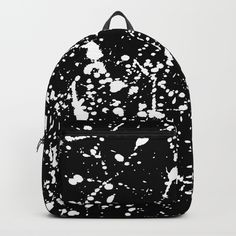 "splatter black and white backpack from Society 6 - Our Backpacks are crafted with spun poly fabric for durability and high print quality. Thoughtful details include double zipper enclosures, padded nylon back and bottom, interior laptop pocket (fits up to 15""), adjustable shoulder straps and front pocket for accessories. Dry clean or spot clean only. One unisex size: 17.75""(H) x 12.25""(W) x 5.75""(D)."