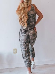 Women Gray Drawstring Sleeveless Camouflage Pocket Casual Jumpsuit - S Short Playsuit, Long Romper, Casual Jumpsuit, Printed Jumpsuit, One Piece Swimwear, Playsuits, Latest Fashion Clothes, Jumpsuits For Women, Camouflage