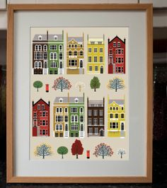 London houses art print in autumn colours by treehillcloud on Etsy, $16.00