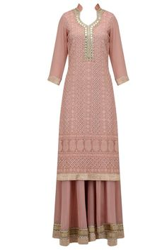 Nude lucknowi and mirror work kurta and sharara pants set available only at Pernia's Pop Up Shop.