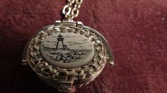 Scrimshaw pillbox necklace by NewYorkJunk on Etsy