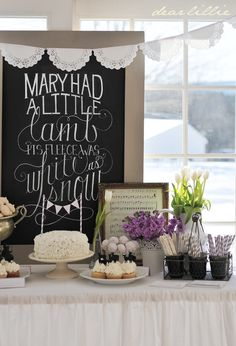 Dear Lillie: Jamie's Nursery Rhyme Themed Baby Shower - Cute chalkboard with font, nice use of flowers, country rustic feel. #timelesstreasure
