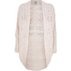 River Island Pink popcorn knit cardigan ($41) ❤ liked on Polyvore featuring tops, cardigans, jackets, outerwear, sweaters, knitwear, pink knit top, pink top, cardigan top and river island