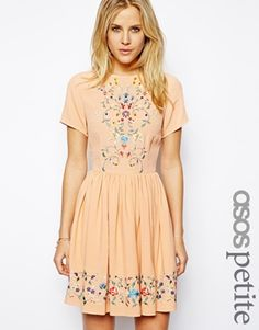 Image 1 of ASOS PETITE Premium Skater Dress With Pretty Floral Embroidery