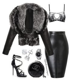 """Untitled #70"" by divamanda on Polyvore featuring Giuseppe Zanotti, Chanel, Rolex, J. Mendel and Agent Provocateur"