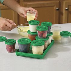 Fresh N Freeze 4 oz. Reusable Baby Food Containers 6-Pack from One Step Ahead. If you're making your own baby food, these are pretty amazing. I send a week's worth of frozen food to daycare in these containers.