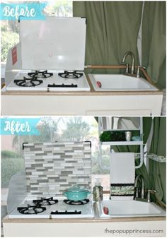 Easy Pop Up Camper Tile Backsplash - The Pop Up Princess - - Adding a tile backsplash to your camper is a simple and inexpensive way to completely transform your RV's kitchen area. Jayco Pop Up Campers, Aliner Campers, Best Pop Up Campers, Cool Campers, Rv Campers, Camper Life, Happy Campers, Rv Life, Camper Hacks