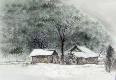 이미지 보기 : 네이버 카페 Watercolor Landscape, Watercolor Art, Art Pictures, Art Pics, Winter Landscape, Asian Art, Painting & Drawing, Scenery, Drawings