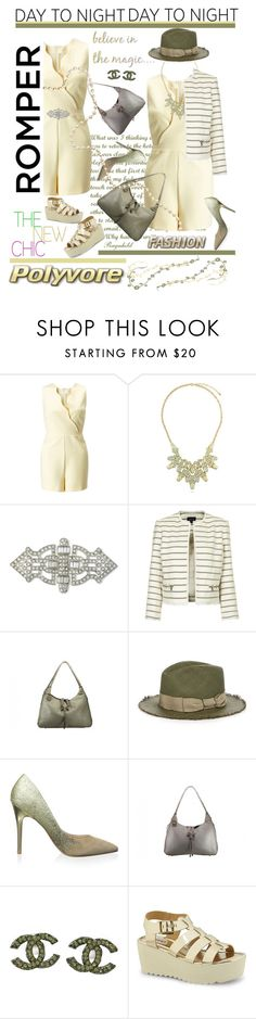 """""""Day to Night: Rompers"""" by ragnh-mjos ❤ liked on Polyvore featuring Miss Selfridge, BERRICLE, Kenneth Jay Lane, Topshop, Filù Hats, Charles by Charles David and Chanel"""