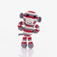 Crochet Monkey Rattle red
