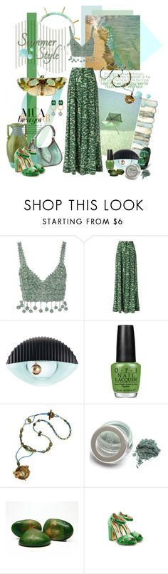 """""""Summer Poms"""" by gilleyqwyn ❤ liked on Polyvore featuring Rosie Assoulin, Andrea Marques, Kenzo, OPI, Rupert Sanderson, PomPoms and PearlsandLace"""