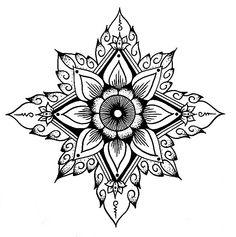 Flower outline, tribal, mandala looking.