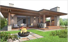 outdoor patio ideas for the exterior of your dream house Backyard Patio Designs, Patio Ideas, Garden Ideas, Roof Ideas, Pergola Designs, Dream House Exterior, Facade House, Modern House Design, Cozy House