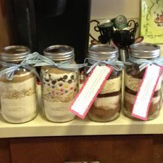 Treat mixes in a jar as bridal shower game prizes. From left to right- Chocolate Chip & Oatmeal Quick Bread, Cowgirl Cookies and the two on the right are Mocha Cocoa. I attached the mocha recipes to the jar, but the other recipes I included in their gift bag. I will definitely make these again!! Inspired by a pin on my Gift Ideas board: texascottage.blog...