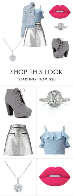 """Silver+ Blue"" by janaeyoung ❤ liked on Polyvore featuring ANNA, Mark Broumand, MSGM, Miss Selfridge, EWA, Lime Crime, J Brand and diamondnecklace"