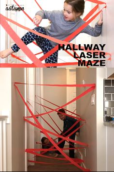Use a roll of crepe paper to make a cool laser maze in your hallway! Fun indoor play idea for kids. Use a roll of crepe paper to make a cool laser maze in your hallway! Fun indoor play idea for kids. Indoor Activities For Kids, Home Activities, Toddler Activities, Summer Activities, Kids Indoor Play, Backyard Games For Kids, Kids Party Games Indoor, Maze Games For Kids, Outside Games For Kids