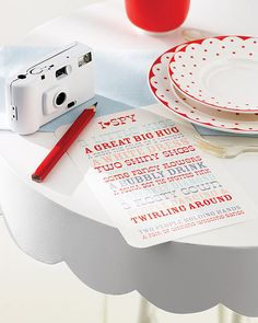Martha Stewart's I Spy game is the perfect activity for kid wedding guests. You provide the simple-to-print card, and they keep busy searching for everything on the list. Source: Martha Stewart Weddings