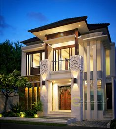 Katrina Private House - Depok, Jawa Barat- Quality house design of architectural services, experienced professional Bali Villa Tropical designs from Emporio Architect. Classic House Design, House Front Design, Roof Design, Modern House Design, Exterior Design, Architectural Services, Architectural Digest, Style At Home, Facade House