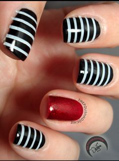 These Beetlejuice inspired nails are great for Halloween!