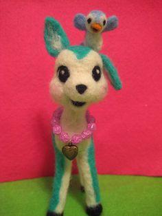 Needle Felted Deer with Little Bluebird by MelaniesMenagerie, $43.00