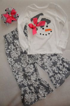 Glitzy Snowman tshirt and grey ruffle pants set by GlitzyBelles, $42.00
