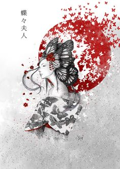 """""""Madame Butterfly"""" Art Print by Marine Loup on Society6."""