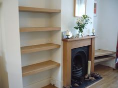 Living Room Shelves Alcove Fire Places 38 Ideas For 2019 Alcove Ideas Living Room, Living Room Shelves, My Living Room, Timber Shelves, Oak Shelves, Built In Shelves, Alcove Storage, Alcove Shelving, Mdf Shelving
