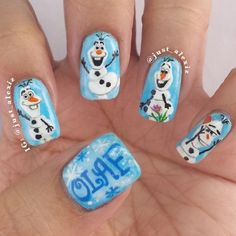 Halloween Disney frozen olaf nails with snowflake for 2014 - hand painted