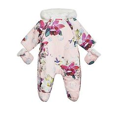 33053896c3c Baker by Ted Baker Baby girls  light pink floral and bubble print snow  jacket