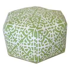 Grass Green Medallion Pouf