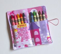 Crayon Rolls Princess Castle holds 10 Crayons, Birthday Party Favors, Crayon Wrap, Crayon Sleeve, cr