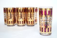 1960s Culver Glassware Cranberry Scroll by YellowBeeVintage