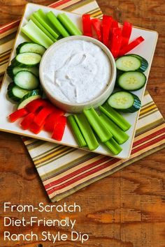 From-Scratch Diet-Friendly Ranch-Style Dip with Greek Yogurt and Dill; this is a perfect low-carb snack for watching TV!  [from KalynsKitchen.com]