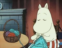"anotherknittingblog: ""She's actually knitting! """