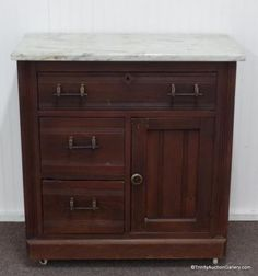 Lot # : 67 - Antique Mahogany & Marble Top Dry Sink