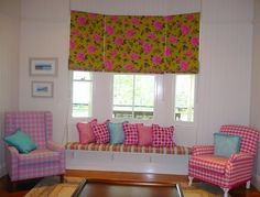 Roman Blinds in a bay window - bright and cheerful was the brief.