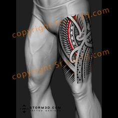 Polynesian red tattoo design with Samoan and Polynesian elements