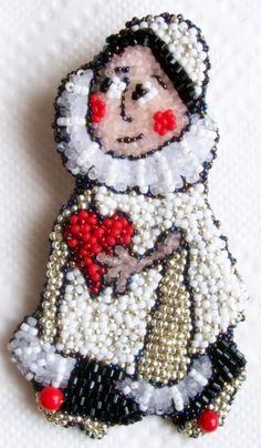 "Helen Kolomoets. Brooches ""Pierrot"" is very small! Somewhere 3.5 by 5 cm. Bead embroidery. Елена Коломоец. Брошь ""Пьеро"" очень маленькая. Всего 3.5 на 5 см. Вышивка бисером."