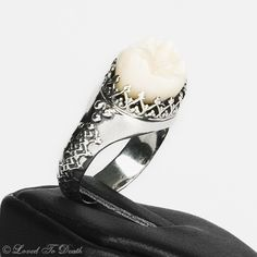 LOVED TO DEATH Gothic Victorian Memento Mori Human Tooth Ring Elaborate Band Sterling