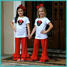 Must have outfit for Katy when we go to Disney -  Mouse Head Ruffle Pants Set