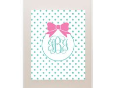 Free printable bow/dot monogram.  Just choose a color and type in monogram and print.  So adorable!