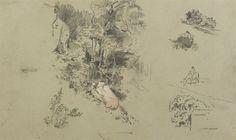 Landscape studies, Arthur Bowen Davies, Gift of Clinton Lindley