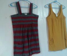 2-Maurices Tunic Sun Dress Gray/Burg stripes & lite pumpkin Orange Jr. size L  #Maurices #Tunic #Casual