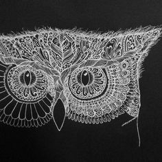 Working on something a bit different.  White on black.  This is a practice piece for another commission but I love it.  Zentangle henna style line drawing of an owl.  A lot to do yet as the piece is on A2 paper, but these gel pens are amazeballs.
