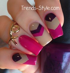 Simple Nail Designs for Beginners - Page 45 of 47 - Beautyhihi Latest Nail Designs, Simple Nail Designs, Nail Art Designs, Aztec Nails, Chevron Nails, Nautical Nails, Purple Chevron, Pink Purple, Nail Manicure