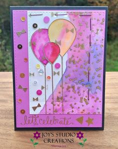 https://flic.kr/p/zkT5kf | Let's Celebrate Watercored Balloon Card | I used the Simon Says Stamp September 2015 Card Kit to make this Let's Celebrate card, I used Zig Clean Colr real Brush markers for the balloons and background. I got out my stapler for the acetate cards - so fun to make this card!! Sheena Joy (Joy's Studio Creations) 2015