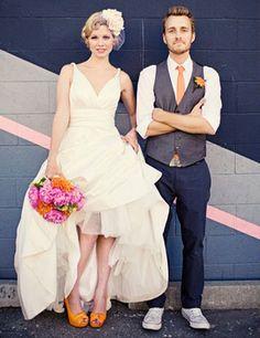 making me rethink wearing flats for my wedding DEF doing orange shoes