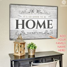 "For a limited time - add your family names at NO EXTRA COST!  ""It's so good to be home."" Quote on a beautiful wooden rustic image backdrop, premium printed canvas.  ADD YOUR NAME, SELECT YOUR REQUIRED SIZE THEN CLICK ""ADD TO CART"" TO BUY.  To avoid disappointment, please double check spellings on details entered, before completing your order.  Limited time run of this print! Be sure to order while you can!   	 Proudly made in the USA  	Our canvases are delivered ready to hang!  Stretched on…"