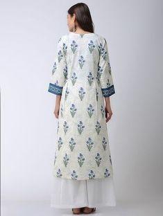Ivory-Blue Block-printed Pleated Mulmul Kurta Indian Long Dress, Kurta Cotton, Blue Block, Ethnic Dress, Print Design, Cold Shoulder Dress, Ivory, Printed, Beautiful