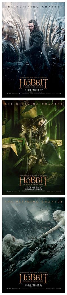 Hobbit: The Battle of the Five Armies action poster collection. That Thorin one though. ALL THE FEELS....